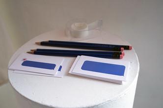 Send a Message, inkjet prints, pencils & tape, 2019