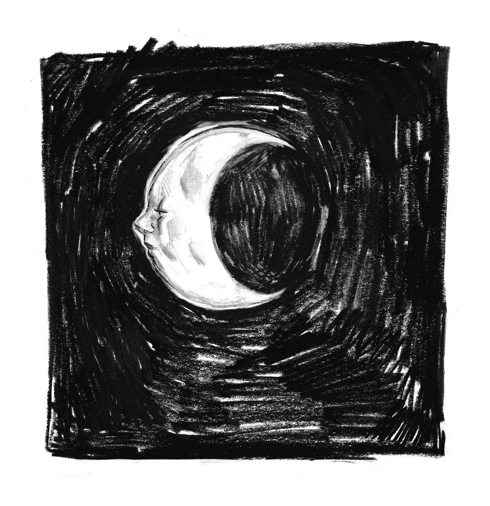 """We Relied On the Moon, Graphite, 8x6"""" $25"""