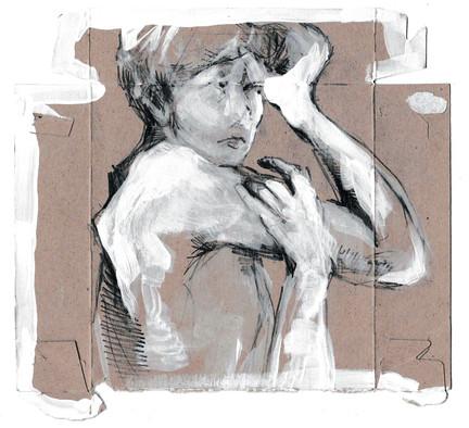 I am Unfinished, a Work in Progress (II), acrylic & graphite on cardboard, 2020
