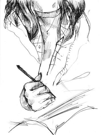 Andres Drawing, sketchbook excerpt, ink, 2020
