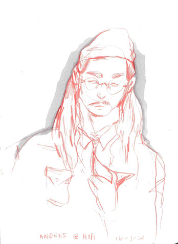 Andres in Hifi, sketchbook excerpt, ink & coloured pencil, 2020