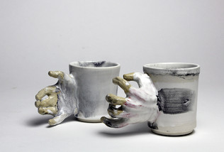 I am Having Issues With Touch, cone 6 stoneware, 2019  Collaboration with Sarah Johnston