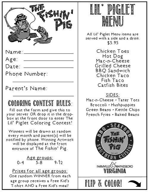 The Fishin' Pig Menu Farmville VA FRONT