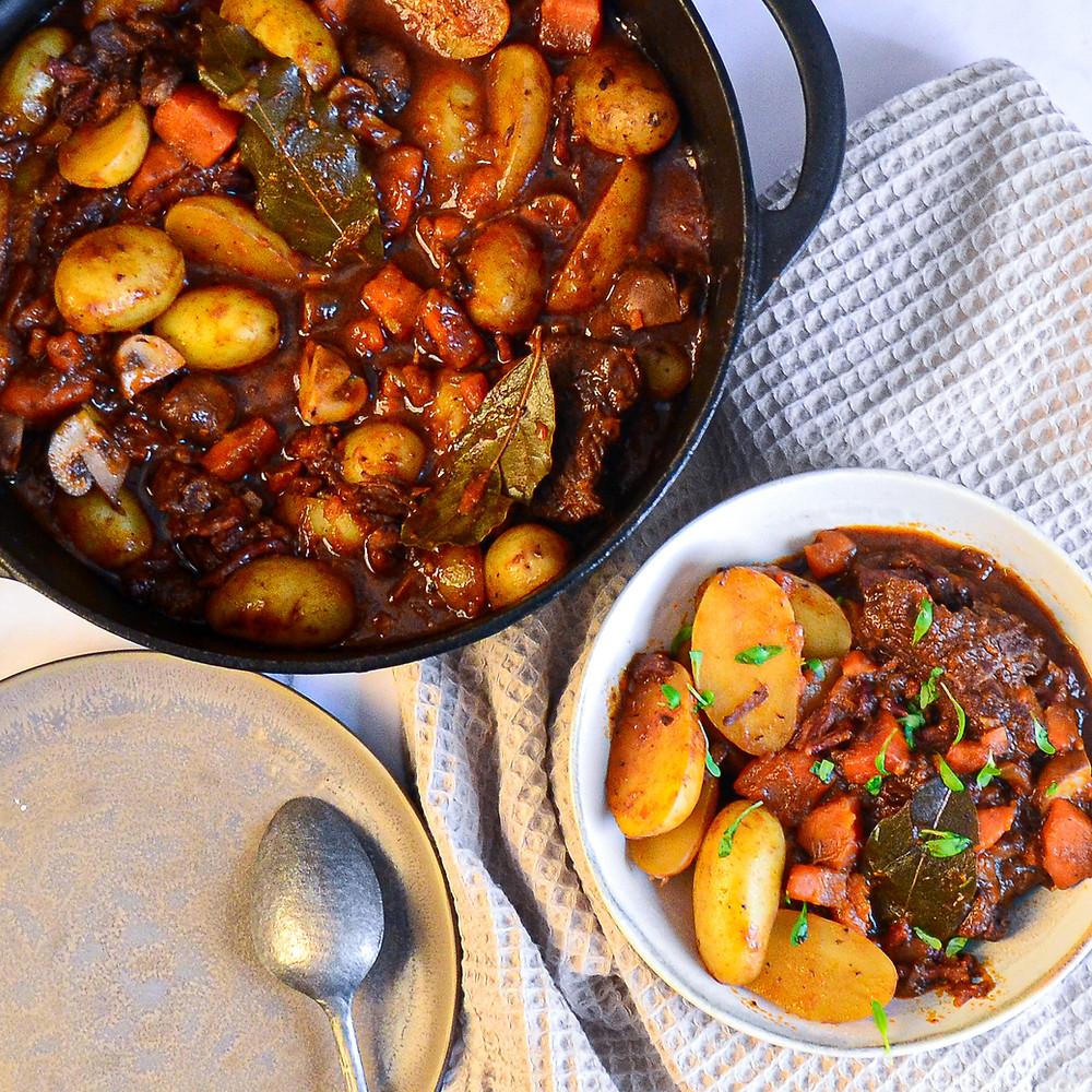 Boeuf bourguignon met aardappels