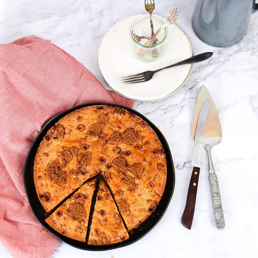 Stroopwafel boterkoek met karamel