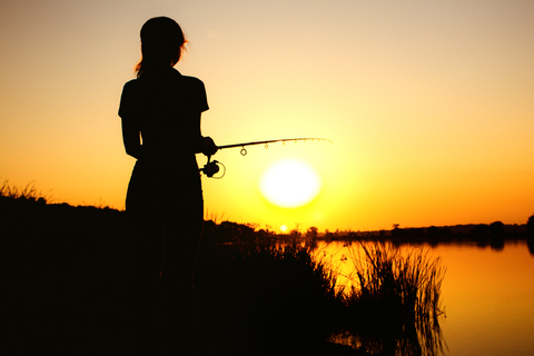 Fishing from Verdigris River Bank