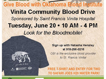 Vinita Community Blood Drive - June 20th