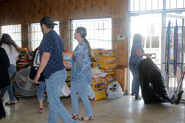 Donated pet food for Tulsa flood victims
