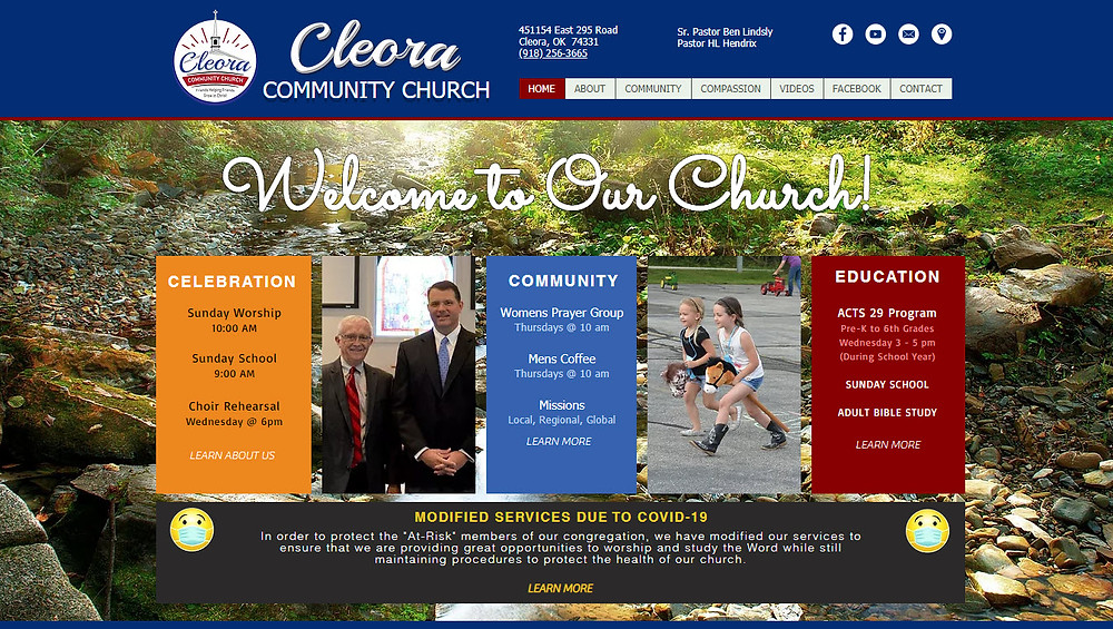 New Website for Cleora Community Church, Cleora, OK