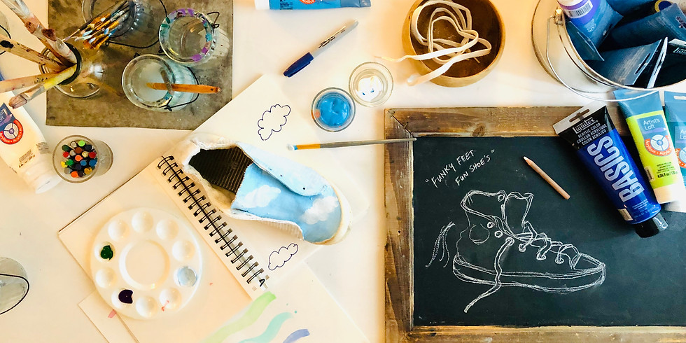Funky Feet- Design and Paint Your Own Sneakers: Art Workshop for Emergent Wanderers (Ages 6 and up)