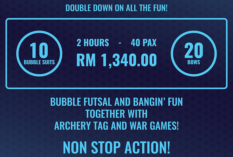 BUBBLE GAMES AND ARCHERY TAG PRICE