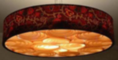 Lustres pendentes de madeira,couro,tecido para mesa de jantar