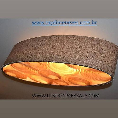 Oval-80CM-Lustre-Promoção-Luminária-Pendente-Madeira - 80cm x 38cm