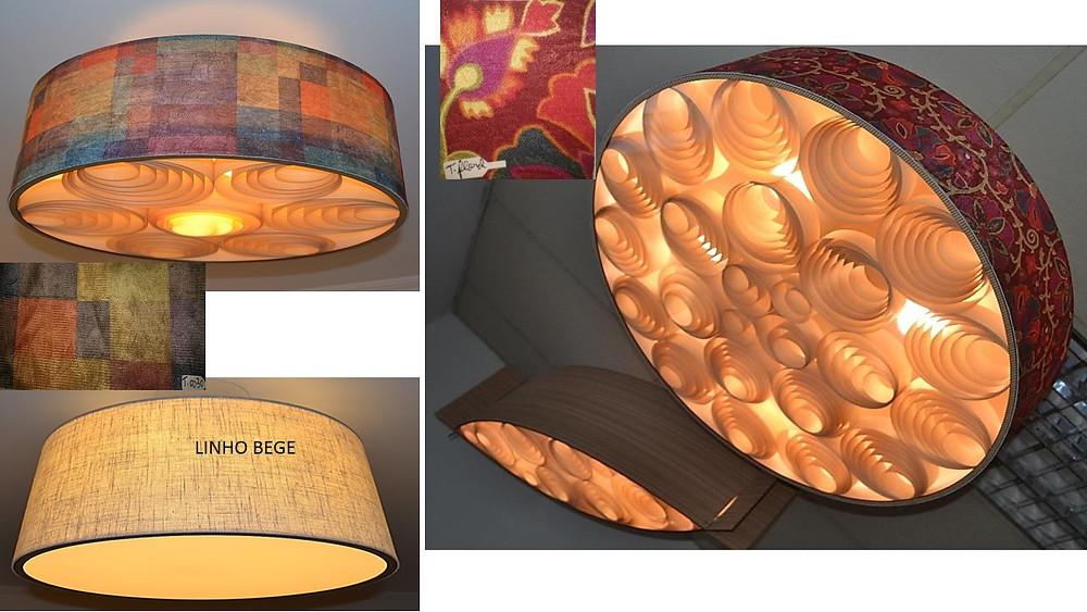Lustres e luminárias pendentes de madeira para sala de estar e jantar.