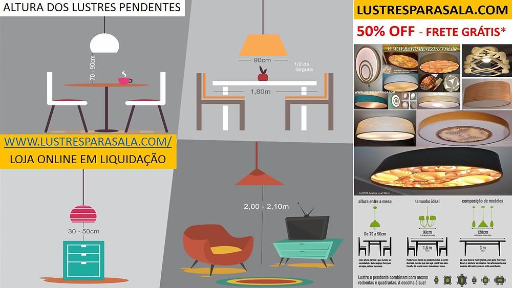 altura correta dos lustres e luminárias pendentes sobre a mesa de jantar e sala de estar. www.lustresparasala.com