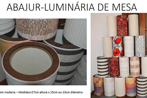 OFERTA-Luminária-Abajur-de-mesa-tubular 27m x 13cm em tecido