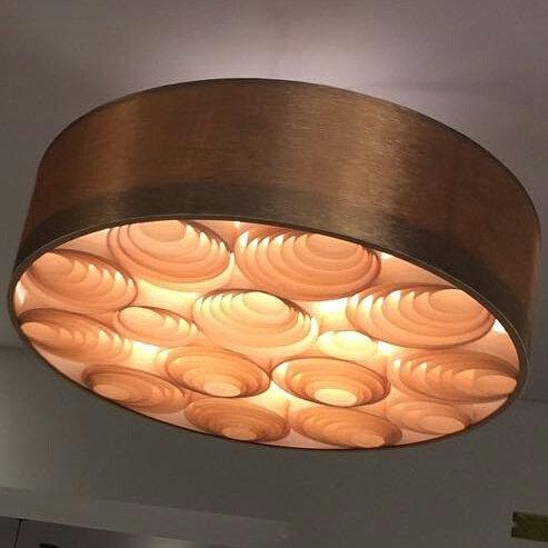 Lustre-Luminária-Pendente Sophia 74cm x 20cm Vinílico,couro,tecido
