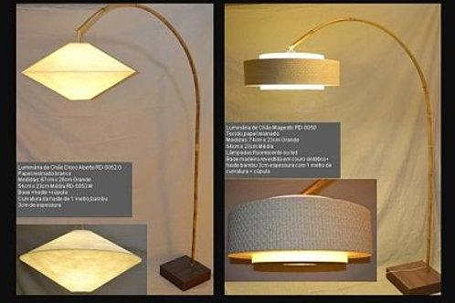 Luminária de chão com bambu G - Disco 58cm
