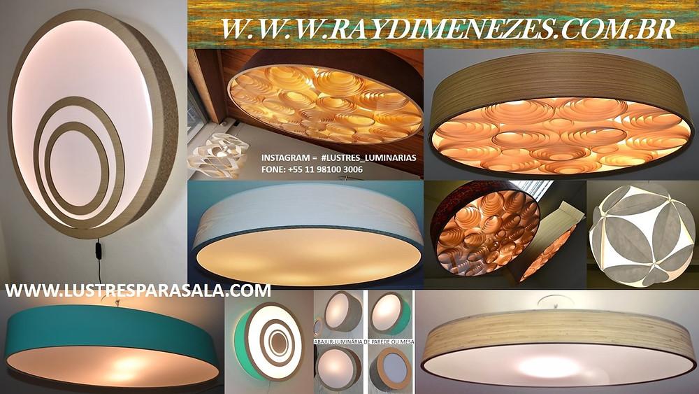 Lustres e Luminárias Pendentes para sala de estar e jantar em Madeira.