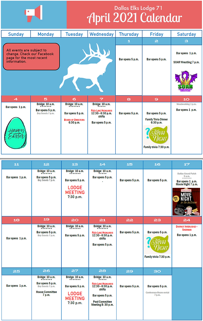 Dallas Elks Calendar April 2021