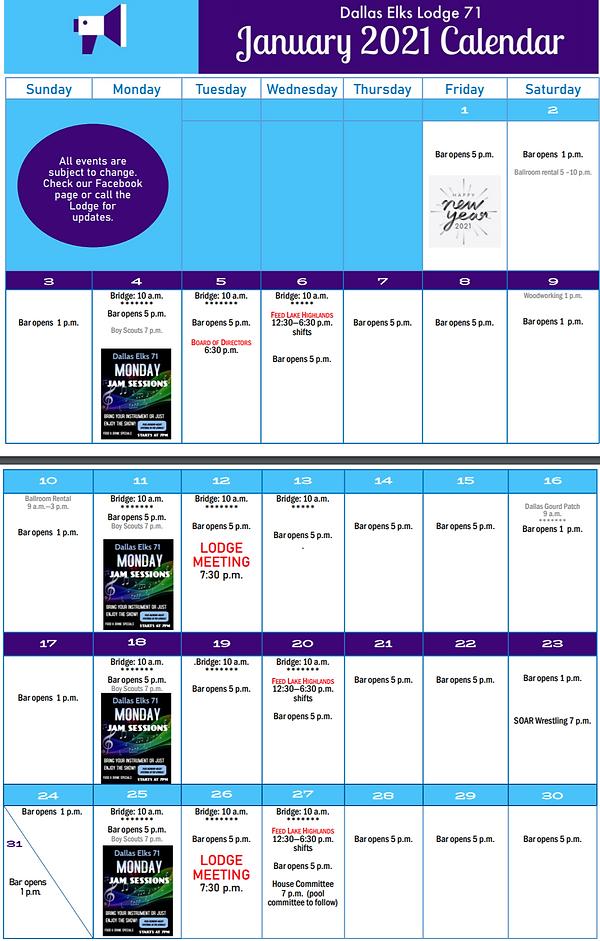 January 2021 Elks Calendar