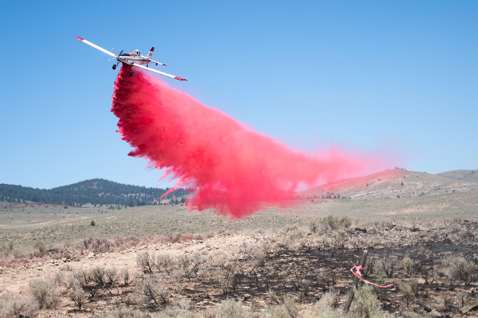 A single engine air tanker (SEAL) drops fire retardant on the mostly-burnt vegetation to prevent remaining, unburnt fuel from igniting later.
