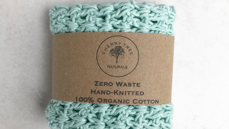 Mint Green Organic Cotton Wash Cloth