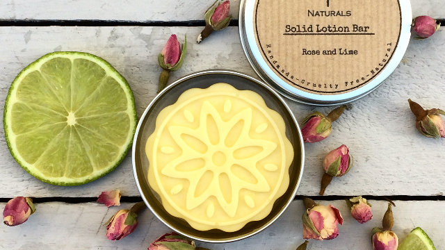 Rose and Lime Solid Lotion Bar