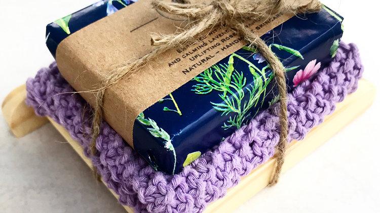 Lavender &Rose Geranium Soap,Organic Wash Cloth and Bamboo Soap Dish