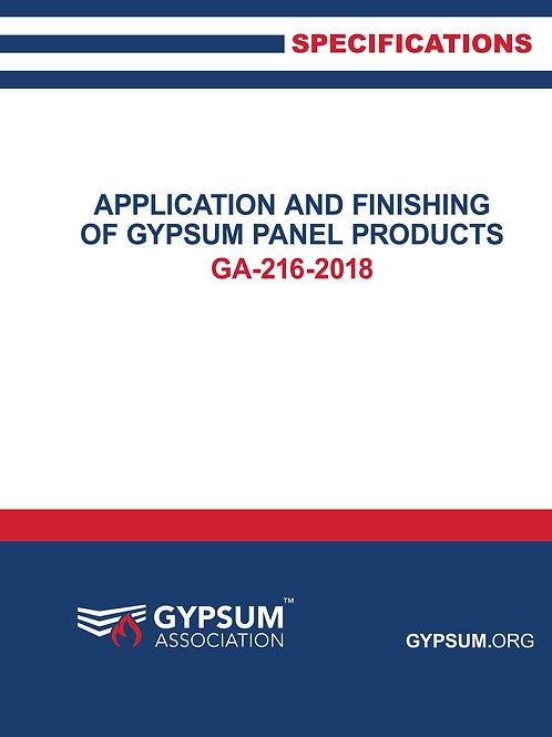 GA-216-2016: Appl & Finishing of Gypsum Panel Products, 2016 ed Paperback � 2016