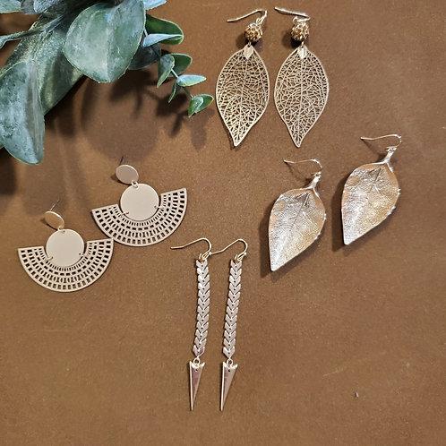 Gold Patterned Earrings