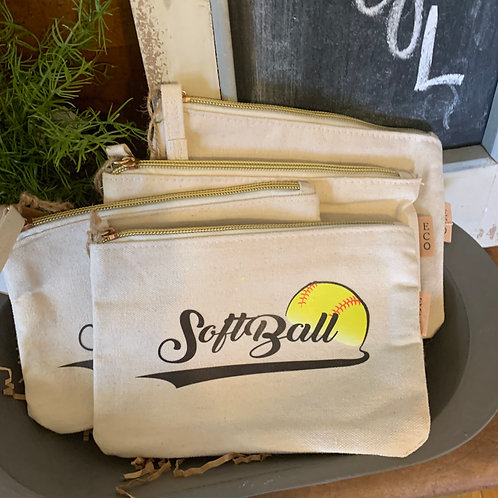 Softball canvas zip bag
