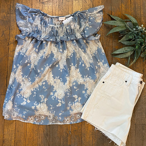 Blue & Lace Ruffle Top