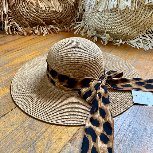 Leopard Scarf Straw Hat