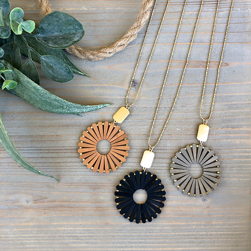 Wood Circle Necklaces
