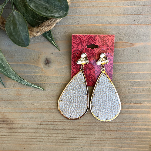 Leather Teardrop with Gold Earrings