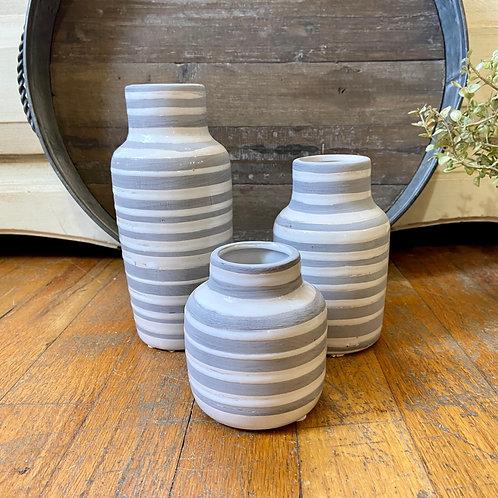 Striped Bottle Vase Set