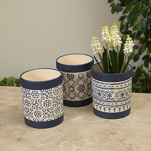Navy Patterned Planter