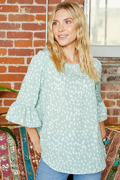 Dotted Sage Top
