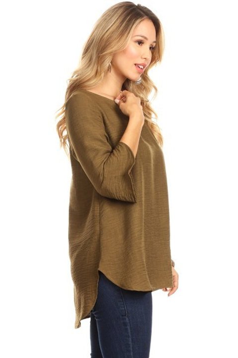 Silky Solid Ruffle Top