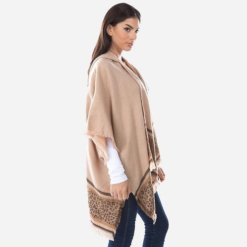 Knit Leopard Border Kimono