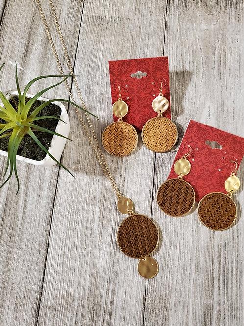 Wood Weave Earrings & Necklace