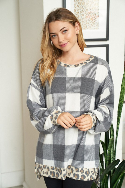 Plaid Trimmed in Leopard