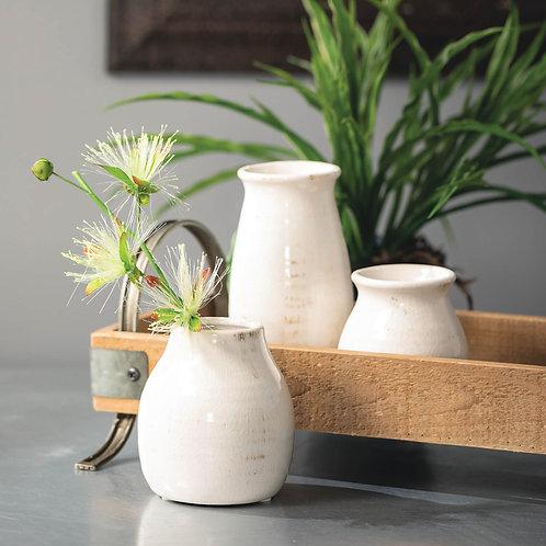 Aged Ivory Vases (Set of 3)