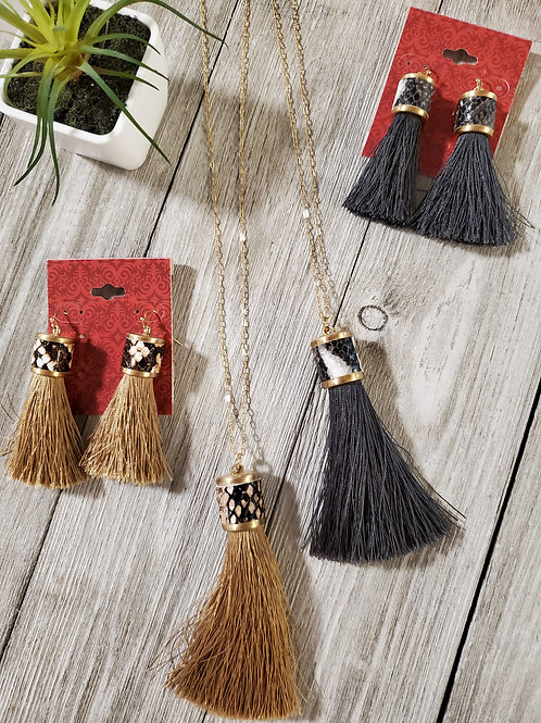 Fabric Tassel  Earrings & Necklace
