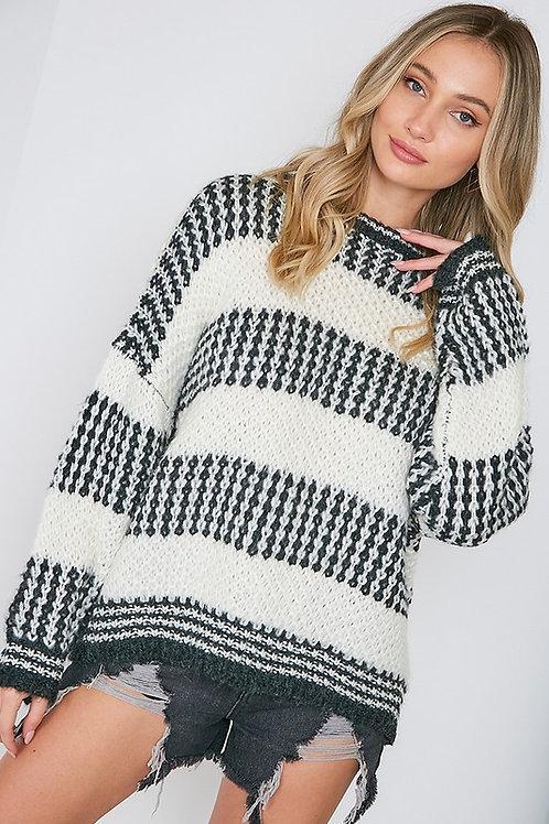 Gray & Ivory Pattern Sweater