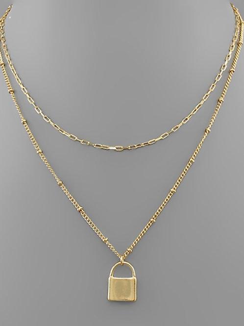 Layered Lock Necklace