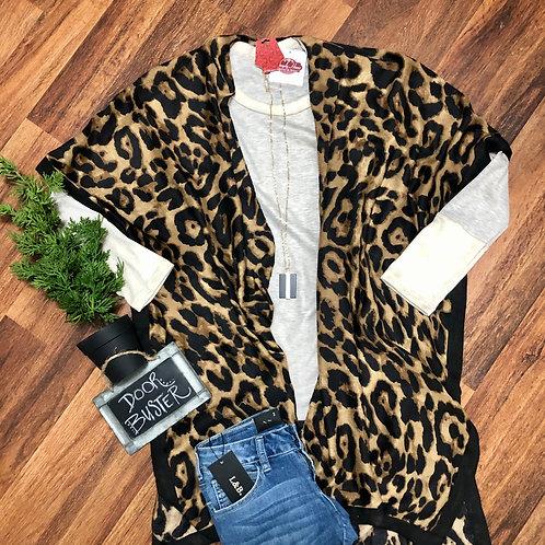 Leopard Kimono with Black Trim