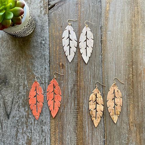 Cork Leaf Earrings