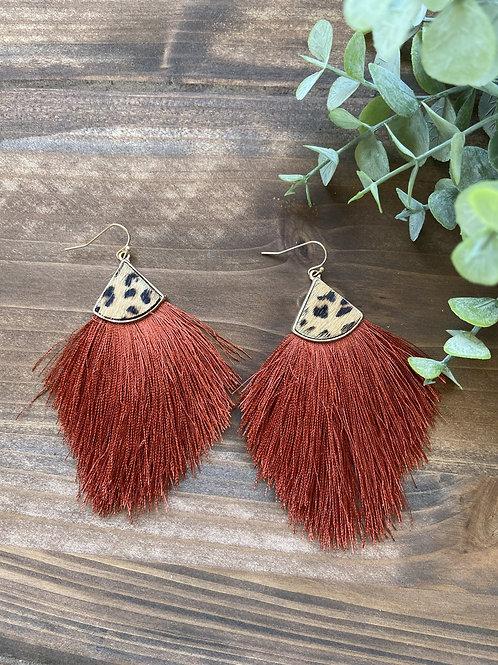 Rust Leopard Earrings
